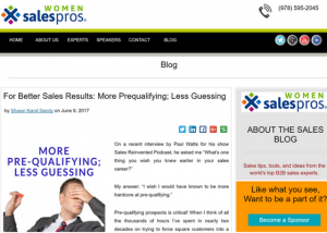 Women sales pros better sales more prequalifying less guessing Shawn Karol Sandy Selling Agency