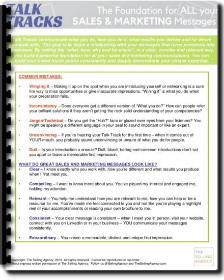 talk tracks sales training worksheet