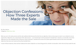 Overcoming Sales Objections Alice Heiman Asks Shawn Karol Sandy The Selling Agency