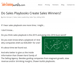Sales Training Werks - Do Sales Playbooks Create Sales Winners? Interview with Shawn Karol Sandy of The Selling Agency