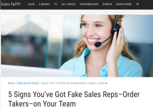SalesPop Pipeliner CRM - 5 Signs You've Got Fake Sales Reps–Order Takers–on Your Team Shawn Karol Sandy