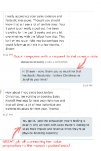 Quick response with a request to nail down a date