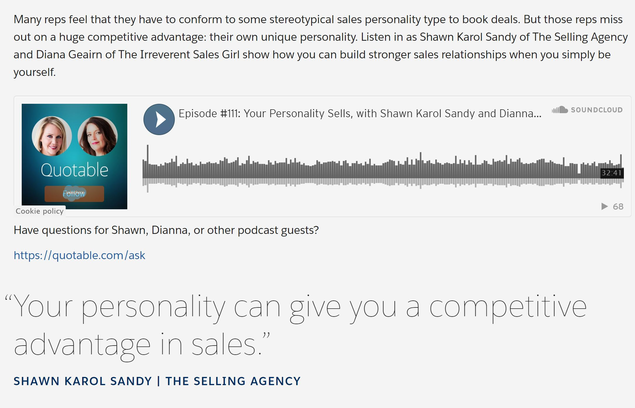 Salesforce Podcast guests Shawn Karol Sandy Dianna Geairn Quotable Sales Competitive advantage